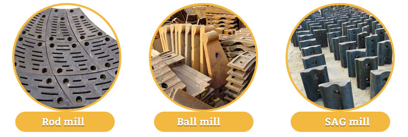 liners of ball mill, rod mill and SAG mill